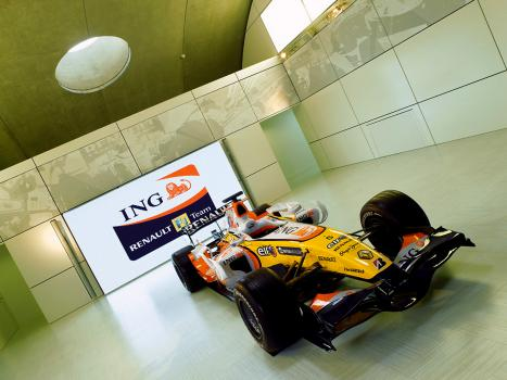3) A full size Renault F1 Team car is displayed in the exhibition area which uses the arching ceiling to best effect for display.