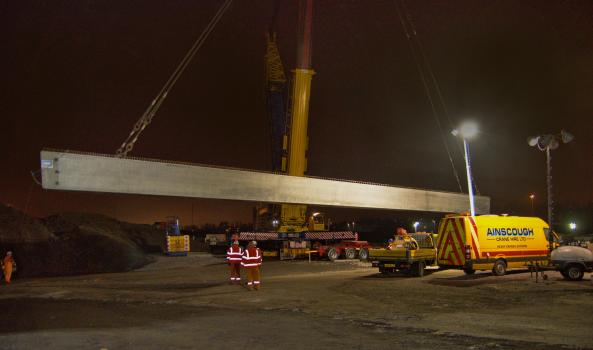 1) 42 metre, pre-stressed bridge beams cast by ABM Precast Solutions