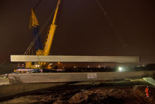 3) One of the largest mobile cranes in the UK with a 1500 tonne capacity was required to lift the beams into place