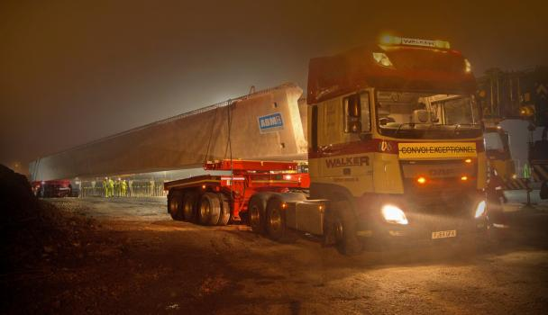 7) The bridge beams were carried to site by Walker Haulage of Tuxford