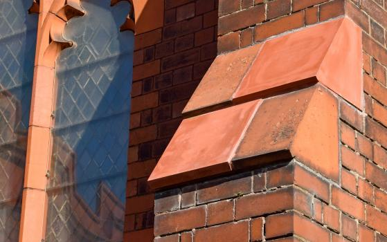 2) Care was taken to manufacture the new terracotta blocks to ensure a precision fit