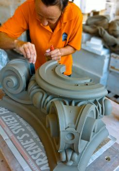 1) At Darwen Terracotta: skilled hand finishing of an ornate terracotta block destined for a building restoration project