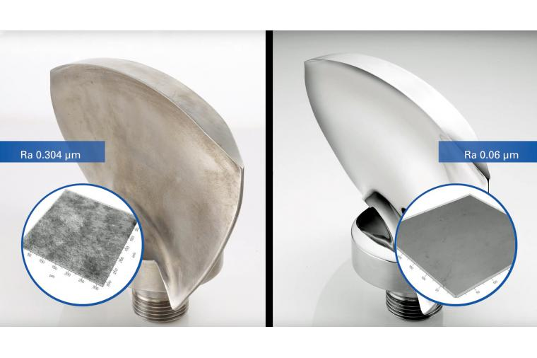 1) Turbine blades before and after stream finishing - often more than one surface finishing method is achieved in a single process