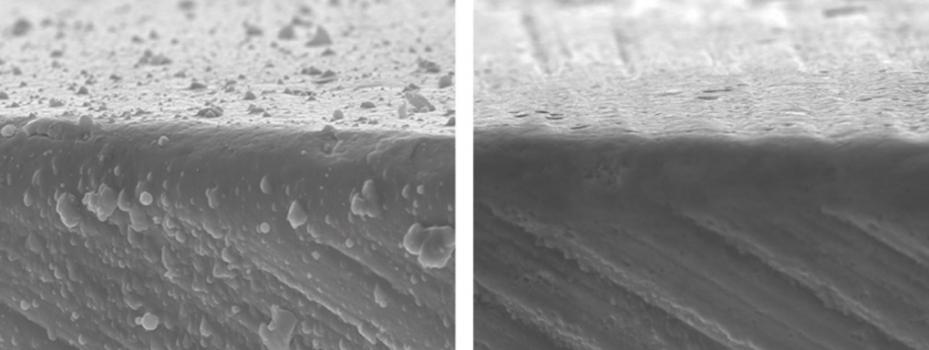 2) Close up of hard droplets formed during hard coating of cutting tools and then removed by surface finishing in an Otec DF machine