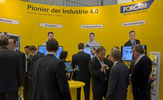 1) Forcam's powerful shop floor management software pulls the crowds at Hannover Messe 2015 Hall 7 Stand A11.