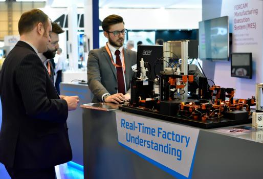 2) In keeping with the MACH theme of 'Manufacturing in Motion' Forcam have a live model manufacturing cell on the stand