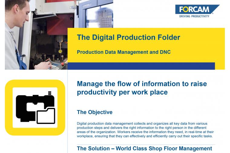 1) Forcam is making available a technical paper on the use of digital information to boost workshop productivity.