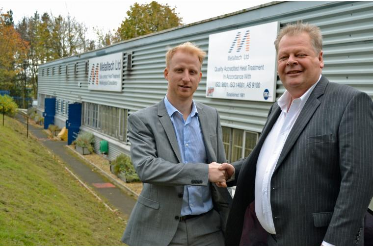 1) (left) Luke Collins of Wallwork Group and Dr Forster of Metaltech Ltd