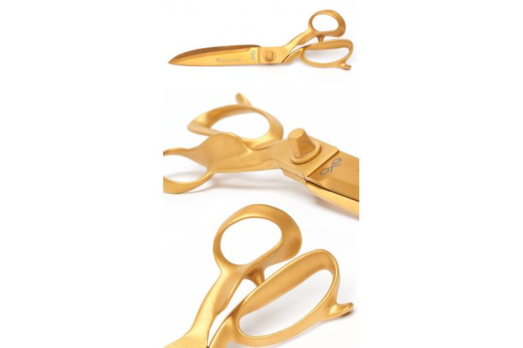 Wallwork TiN PVD coating producing a gold colour on the new EXO Gold scissor range from William Whiteley & Sons